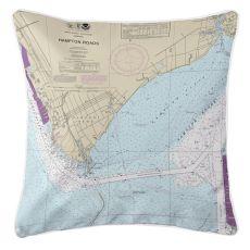 Newport News, Virginia Nautical Chart Pillow