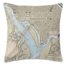 Washington Harbor, Dc Nautical Chart Pillow