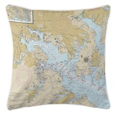 Baltimore, Maryland Nautical Chart Pillow