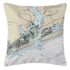 Swansboro, North Carolina Nautical Chart Pillow