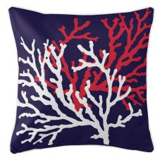 Coral Duo On Navy Pillow