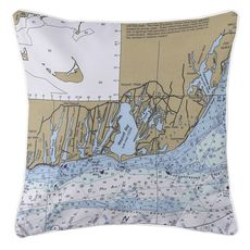 East Falmouth, MA  Nautical Chart Pillow