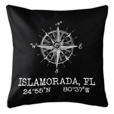 Custom Compass Rose Coordinates Pillow - Black