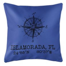 Custom Compass Rose Coordinates Pillow - Blue