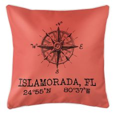 Custom Compass Rose Coordinates Pillow - Coral