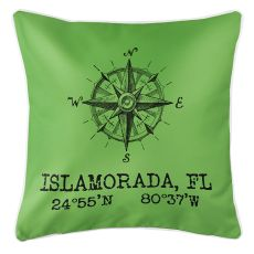 Custom Compass Rose Coordinates Pillow - Light Green