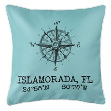 Custom Compass Rose Coordinates Pillow - Light Blue
