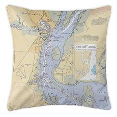 Georgetown, SC Nautical Chart Pillow