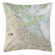 Plymouth, MA Nautical Chart Pillow