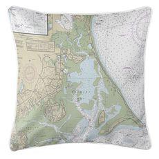 Duxbury, MA Nautical Chart Pillow