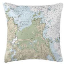 Cohasset Harbor, MA Nautical Chart Pillow