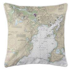 Gloucester Harbor, MA Nautical Chart Pillow