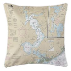 Jacksonville, New River, NC Nautical Chart Pillow