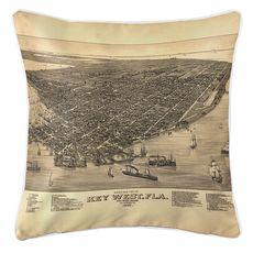 Key West, FL, C. 1884 Vintage Bird's Eye View Coastal Pillow