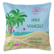 """""""Have Yourself A Sandy Little Christmas"""" Coastal Pillow"""
