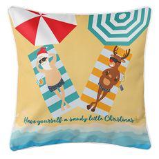 Beach Santa & Reindeer Christmas Coastal Pillow