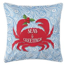 Seas & Greetings Crab Christmas Coastal Pillow