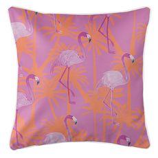 Pink Flamingos Coastal Pillow