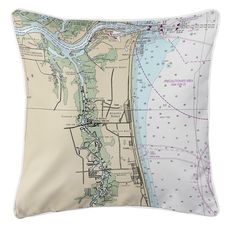Atlantic Beach, FL Nautical Chart Pillow
