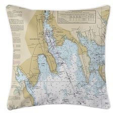 New Bedford, Fairhaven, South Dartmouth, Sconticut Neck, MA Nautical Chart Pillow