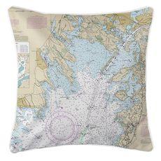 Marion, Wareham, Buzzards Bay, MA Nautical Chart Pillow