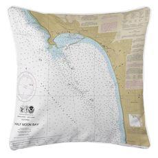 Half Moon Bay, CA Nautical Chart Pillow