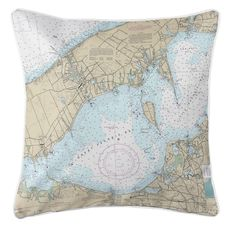 Mattituck, Great Peconic Bay, NY Nautical Chart Pillow