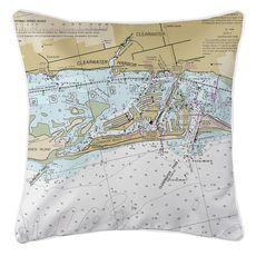 Clearwater Beach, FL Nautical Chart Pillow