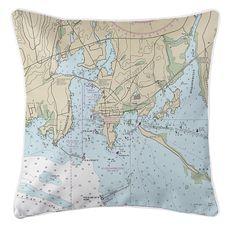 Stonington, CT Nautical Chart Pillow
