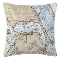 Stuart, Sewall's Point, FL Nautical Chart Pillow