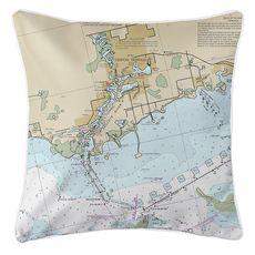 Tarpon Springs, FL Nautical Chart Pillow