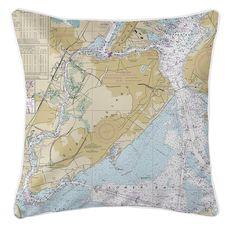 Staten Island, NY Nautical Chart Pillow