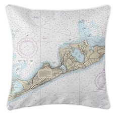 Montauk, NY (Zoom Out) Nautical Chart Pillow