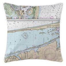 Emerald Isle, NC Nautical Chart Pillow