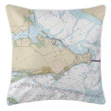 Rockport, TX Nautical Chart Pillow