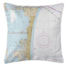 Cocoa Beach, FL Nautical Chart Pillow