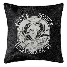 Custom Coordinates Vintage Crab Coastal Pillow - Black