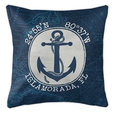 Custom Coordinates Vintage Anchor Coastal Pillow - Navy