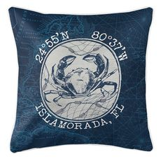 Custom Coordinates Vintage Crab Coastal Pillow - Navy
