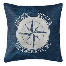 Custom Coordinates Vintage Compass Rose Coastal Pillow - Navy