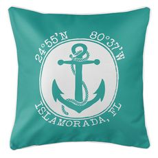 Personalized Coordinates Anchor Coastal Pillow - Aqua