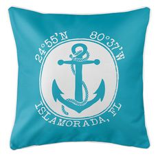 Personalized Coordinates Anchor Coastal Pillow - Calypso