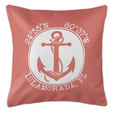 Personalized Coordinates Anchor Coastal Pillow - Coral