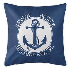 Personalized Coordinates Anchor Coastal Pillow - Navy