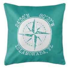 Personalized Coordinates Compass Rose Coastal Pillow - Aqua