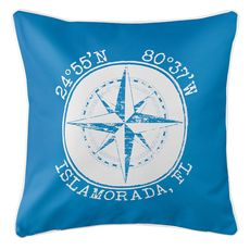 Personalized Coordinates Compass Rose Coastal Pillow - Blue