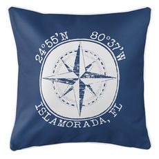 Personalized Coordinates Compass Rose Coastal Pillow - Navy