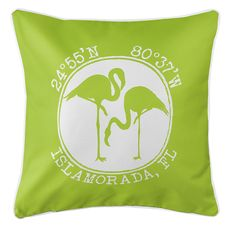 Personalized Coordinates Flamingo Coastal Pillow - Lime