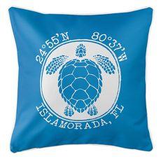 Personalized Coordinates Sea Turtle Coastal Pillow - Blue
