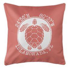 Personalized Coordinates Sea Turtle Coastal Pillow - Coral